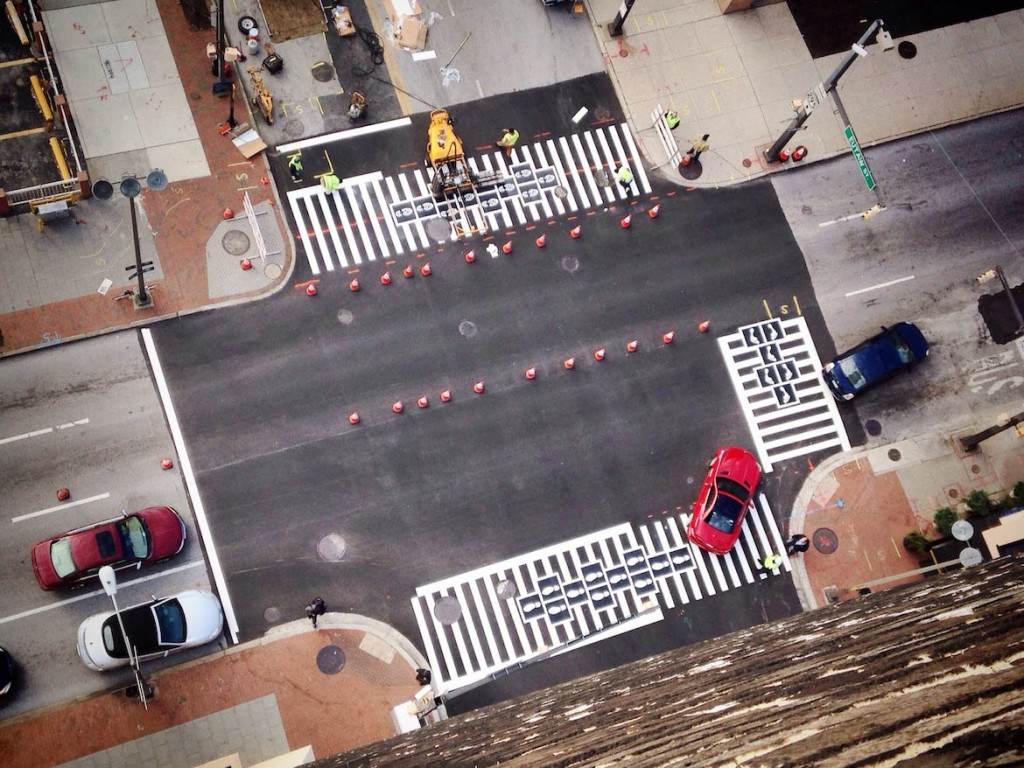 Hopscotch Crosswalk Colossus tower view