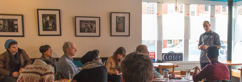 Graham Coreil-Allen facilitating Citizen Artist Baltimore listening session