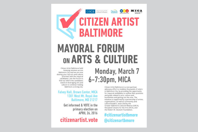 Citizen Artist Baltimore Mayoral Forum poster