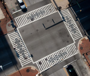 Hopscotch Crosswalks Colossus aerial view