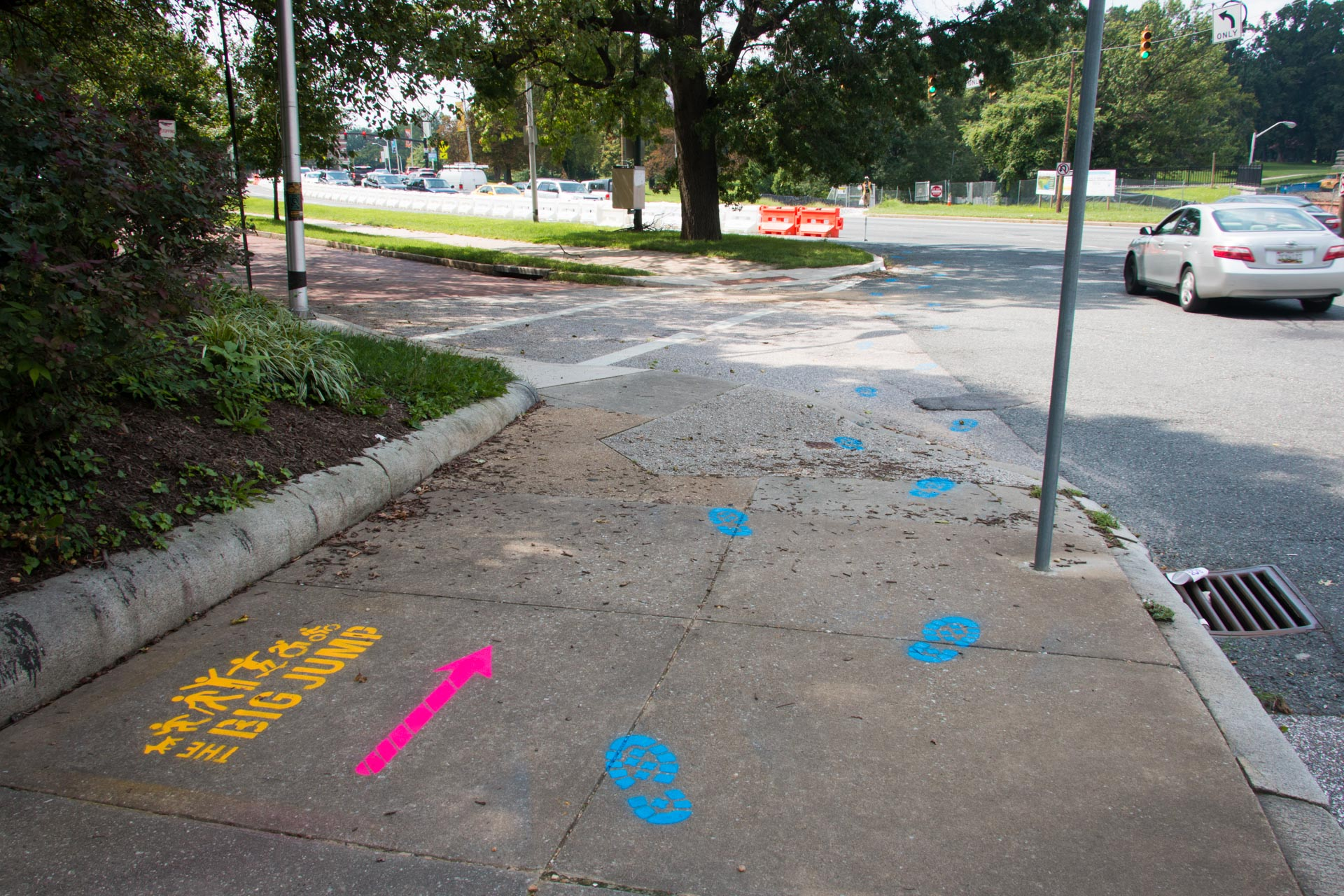 180816 Big Jump side street stencil wayfinding Eutaw Pl