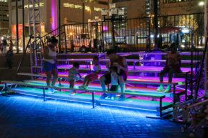 Sun Stomp LED bleachers interaction, Light City Baltimore, April 2018