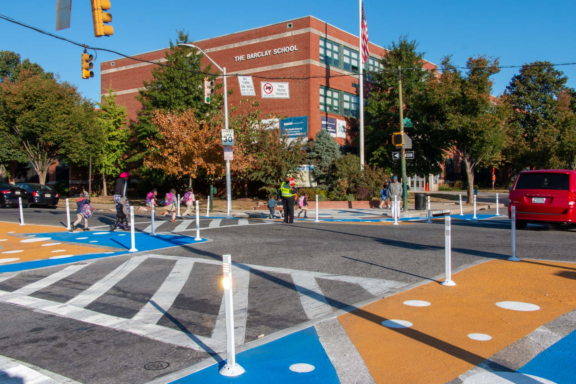 Barclay STEM Crosswalks northwest view kids crossing