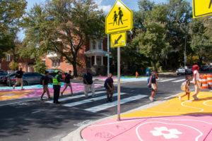 Reverberations Crosswalk 26th Calvert students crossing