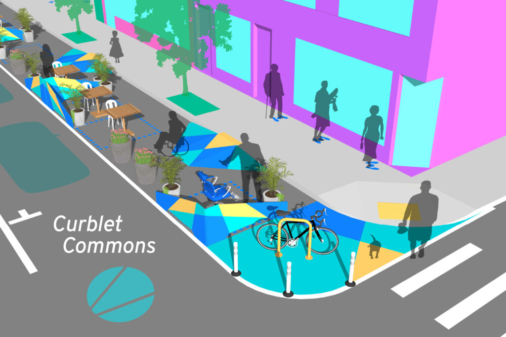 Design for Distancing Curblet Commons perspective